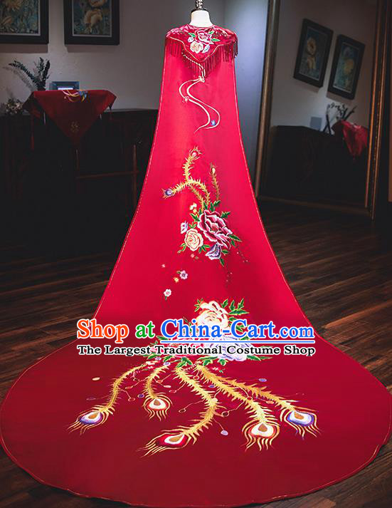Chinese Traditional Bride Cloak Ancient Handmade Embroidered Phoenix Red Wedding Costumes for Women