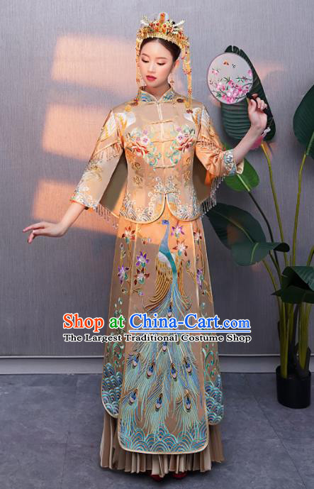 Chinese Traditional Bride Embroidered Peacock Xiuhe Suits Ancient Handmade Wedding Costumes for Women
