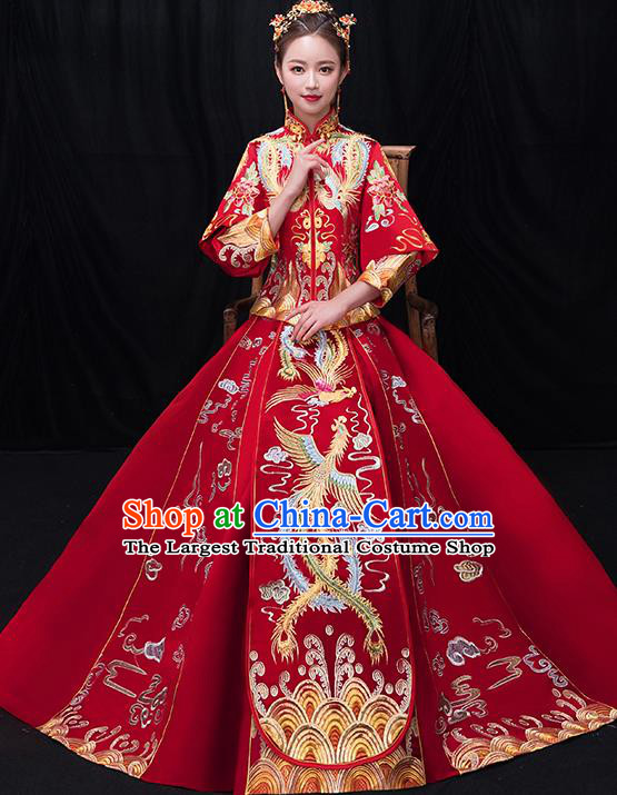 Chinese Traditional Bride Toast Embroidered Phoenix Red Xiuhe Suits Ancient Wedding Costumes for Women