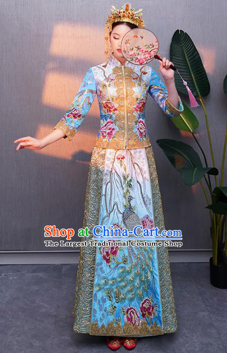 Chinese Traditional Bride Embroidered Peacock Blue Xiuhe Suits Ancient Handmade Wedding Costumes for Women