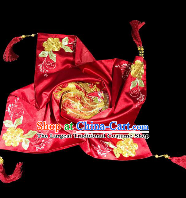 Chinese Traditional Wedding Hair Accessories Ancient Bride Embroidered Phoenix Peony Red Cover Headwear for Women