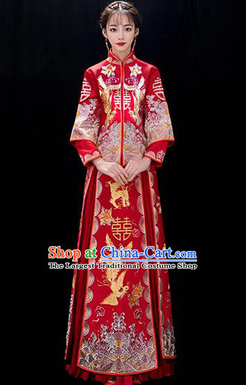 Chinese Traditional Bride Embroidered Phoenix Red Xiuhe Suits Ancient Handmade Wedding Costumes for Women