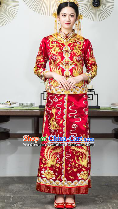 Chinese Traditional Bride Red Silk Xiuhe Suits Ancient Handmade Embroidered Wedding Costumes for Women
