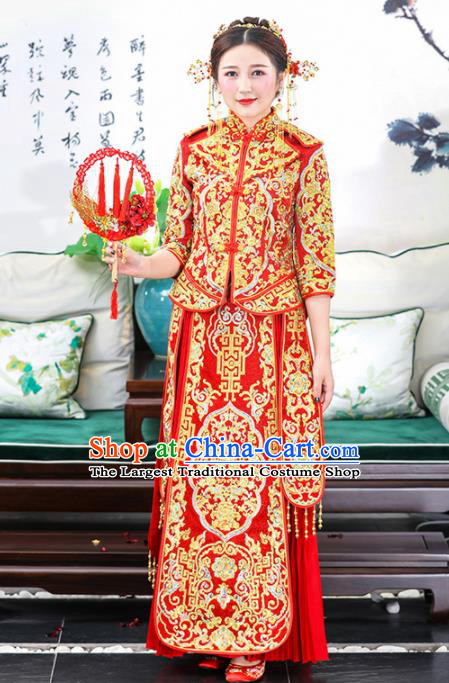 Chinese Traditional Bride Xiuhe Suits Ancient Handmade Golden Embroidered Wedding Costumes for Women