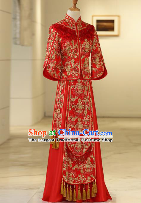 Chinese Traditional Bride Embroidered Peony Xiuhe Suits Ancient Handmade Red Wedding Costumes for Women