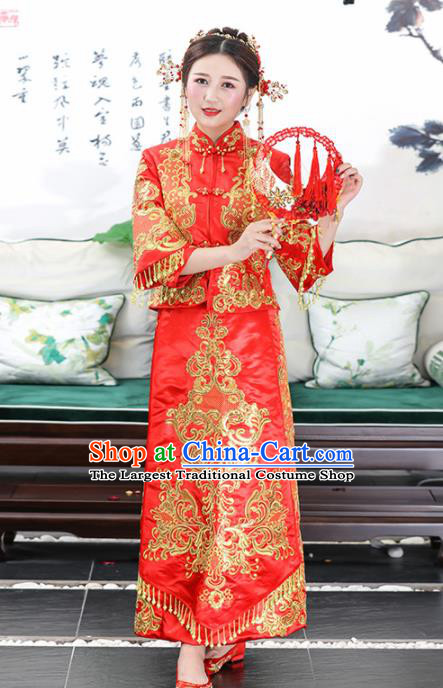 Chinese Traditional Bride Red Satin Xiuhe Suits Ancient Handmade Wedding Dresses for Women
