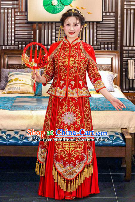 Chinese Traditional Bride Red Embroidered Xiuhe Suits Ancient Handmade Wedding Dresses for Women