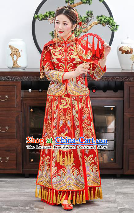 Chinese Traditional Bride Embroidered Dragons Xiuhe Suits Ancient Handmade Red Wedding Dresses for Women