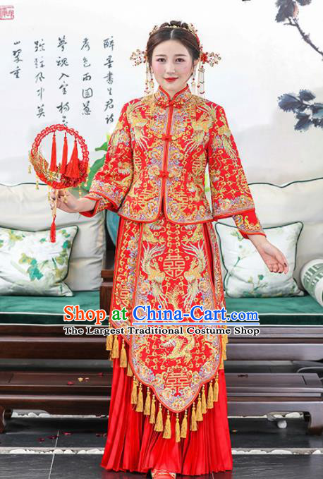 Chinese Traditional Bride Embroidered Dragon Phoenix Xiuhe Suits Ancient Handmade Red Wedding Dresses for Women
