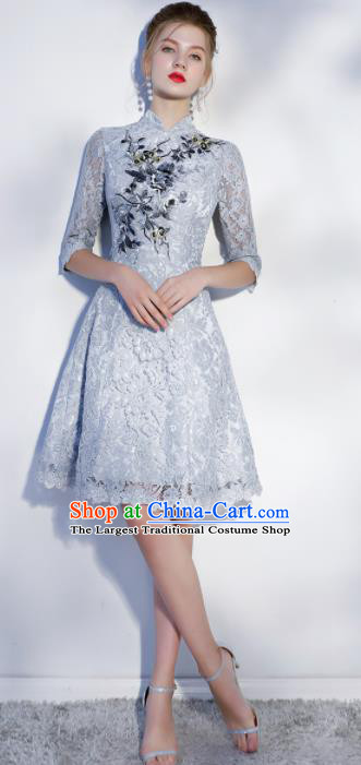 Chinese Traditional Bride Embroidered Slim Cheongsam Ancient Handmade Grey Lace Wedding Dress for Women