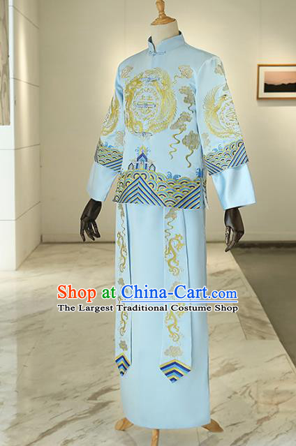 Chinese Traditional Wedding Blue Gown Ancient Bridegroom Embroidered Costumes for Men