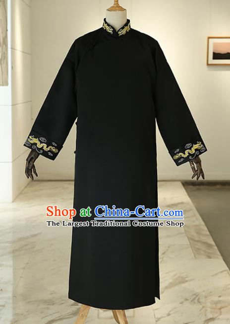 Chinese Traditional Wedding Black Gown Ancient Bridegroom Embroidered Costumes for Men