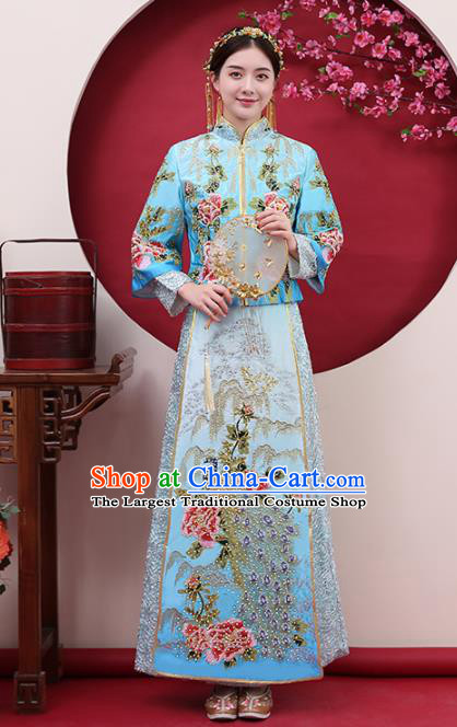Chinese Traditional Bride Diamante Peacock Blue Xiuhe Suits Ancient Handmade Wedding Costumes for Women