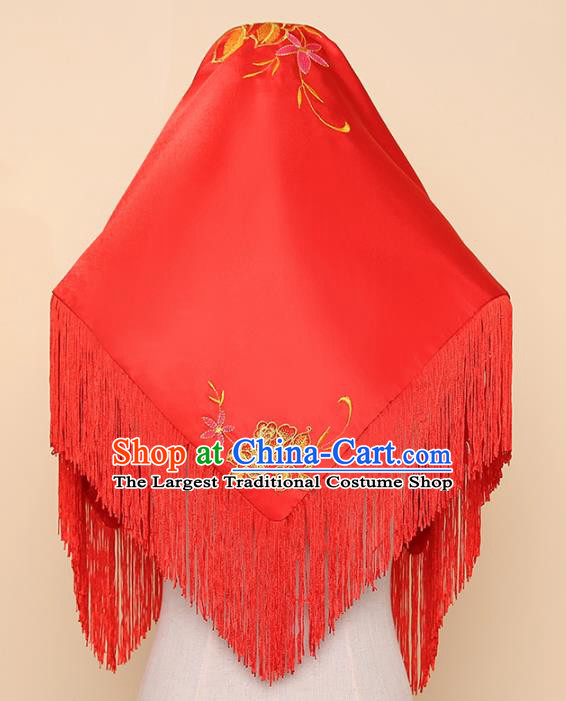 Chinese Traditional Wedding Hair Accessories Ancient Bride Red Tassel Headdress for Women