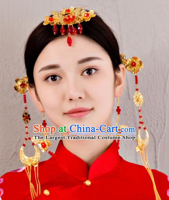 Chinese Traditional Wedding Hair Accessories Ancient Bride Hairpins Headdress for Women
