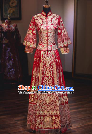 Chinese Traditional Wedding Dress Ancient Bride Embroidered Xiuhe Suits Costumes for Women