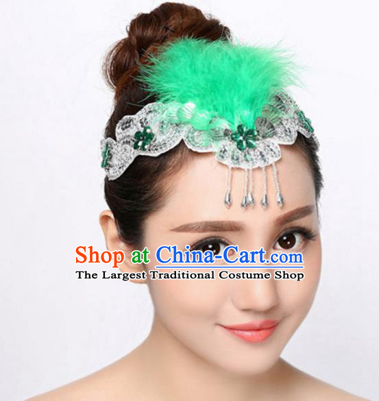 Chinese Traditional Folk Dance Hair Accessories Classical Dance Green Feather Hair Clasp for Women