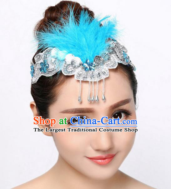 Chinese Traditional Folk Dance Hair Accessories Classical Dance Blue Feather Hair Clasp for Women