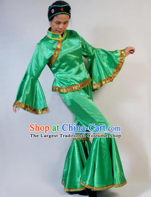 Chinese Traditional Folk Dance Costumes Yanko Dance Fan Dance Green Clothing for Women