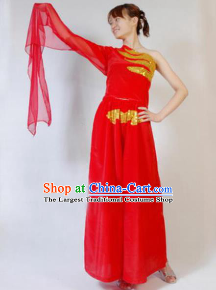 Chinese Traditional Folk Dance Costumes Yanko Dance Drum Dance Red Clothing for Women