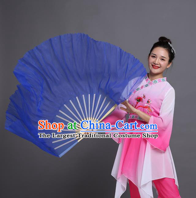 Chinese Traditional Folk Dance Props Classical Dance Fans Blue Silk Fans