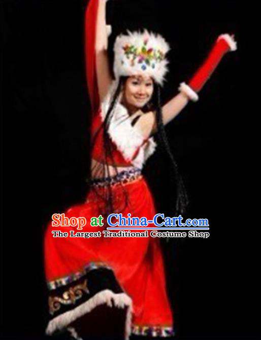 Chinese Traditional Folk Dance Costumes Zang Nationality Dance Red Clothing for Women