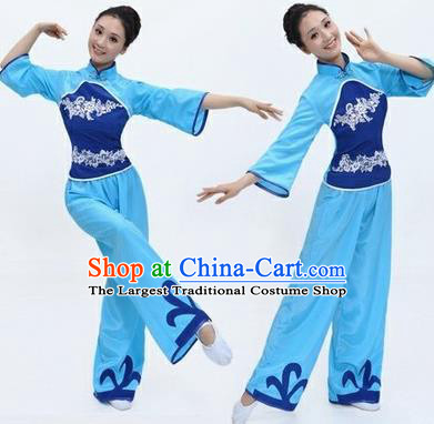 Chinese Traditional Folk Dance Costumes Yangko Dance Blue Clothing for Women