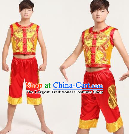 Chinese Traditional Folk Dance Costumes Drum Dance Clothing for Men