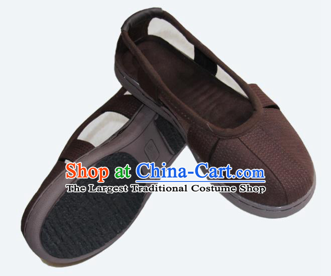 Chinese Traditional Buddhist Monk Shoes Buddhism Arhat Monks Brown Cloth Shoes for Men