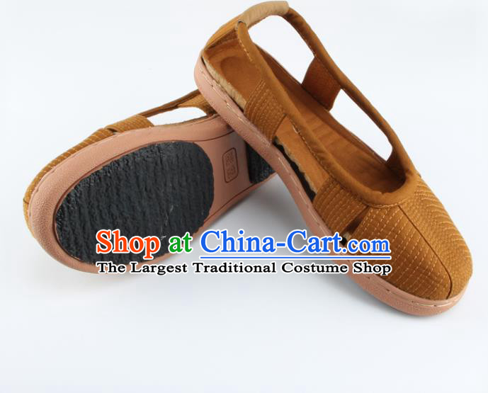 Chinese Traditional Buddhist Monk Shoes Buddhism Arhat Monks Khaki Cloth Shoes for Men