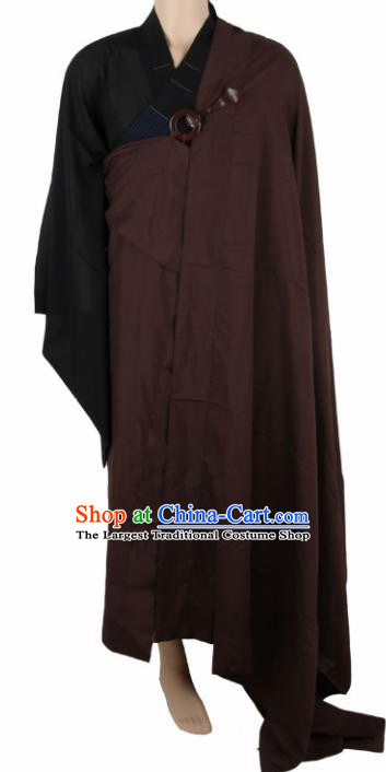 Chinese Traditional Buddhist Monk Brown Costumes Buddhism Monks Cassock for Men
