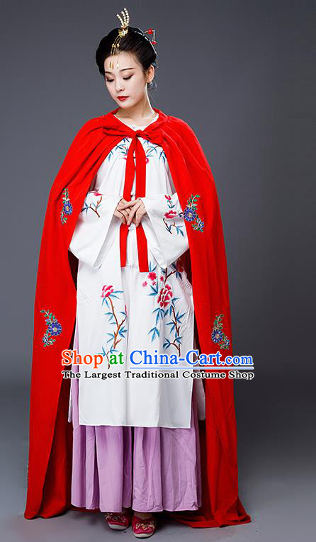 Traditional Chinese Ming Dynasty Drama Costumes Ancient Nobility Lady Embroidered Hanfu Dress and Cloak for Women