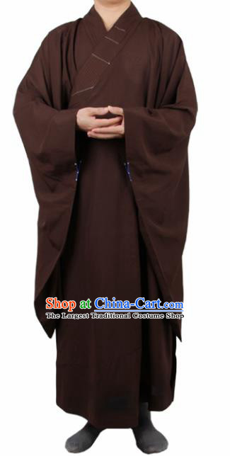 Chinese Traditional Buddhist Monk Brown Robe Buddhism Dharma Assembly Monks Costumes for Men