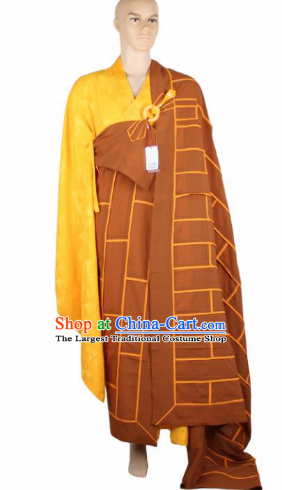 Chinese Traditional Buddhist Brown Cassock Buddhism Dharma Assembly Monks Costumes for Men
