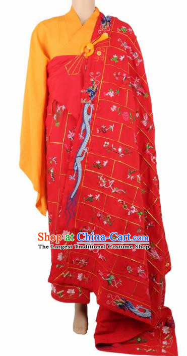 Chinese Traditional Buddhist Red Silk Cassock Buddhism Dharma Assembly Monks Costumes for Men