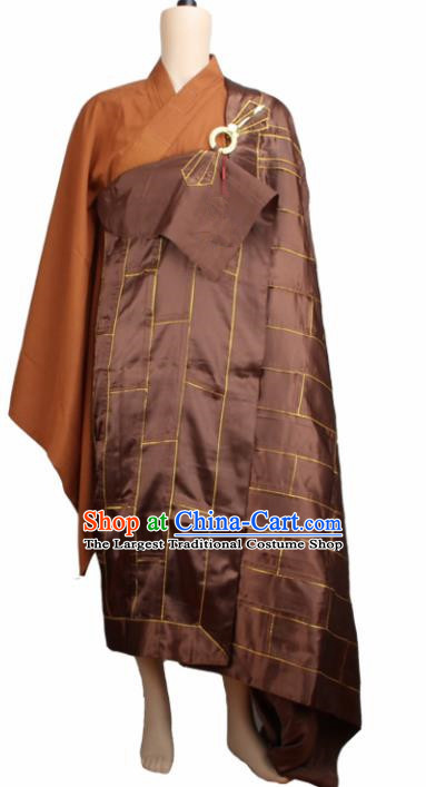 Chinese Traditional Buddhist Brown Silk Cassock Buddhism Dharma Assembly Monks Costumes for Men