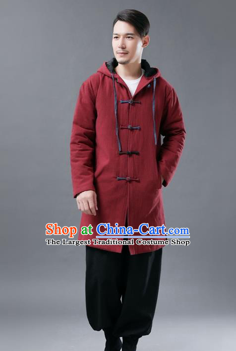 Chinese Traditional Costume Tang Suits National Shirts Mandarin Red Cotton Padded Coat for Men