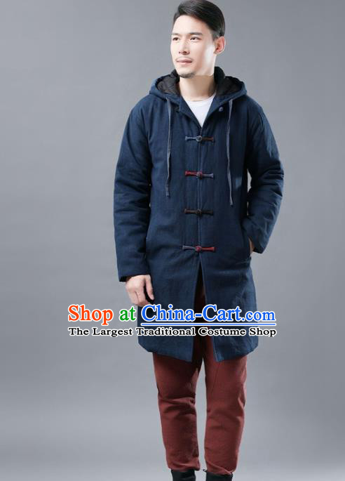 Chinese Traditional Costume Tang Suits National Shirts Mandarin Navy Cotton Padded Coat for Men