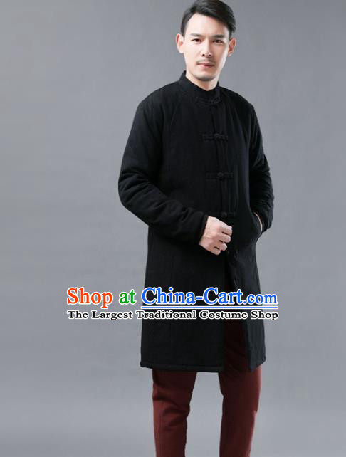 Chinese Traditional Costume Tang Suits Black Cotton Padded Coat National Mandarin Shirt for Men