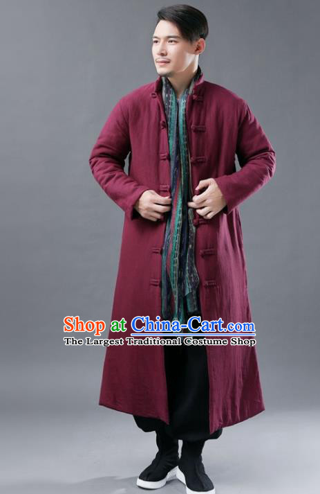 Chinese Traditional Costume Tang Suits National Mandarin Wine Red Cotton Padded Long Coat for Men