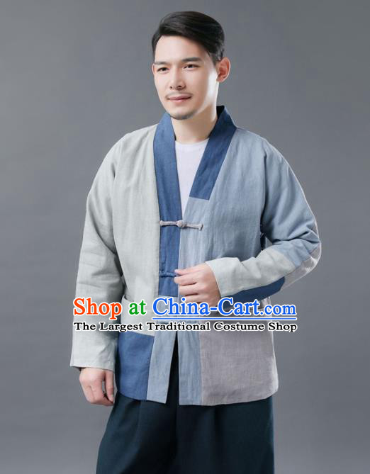 Chinese Traditional Costume Tang Suits Blue Jacket National Mandarin Shirt for Men