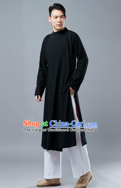 Chinese Traditional Costume Tang Suits Black Gown National Mandarin Robe for Men