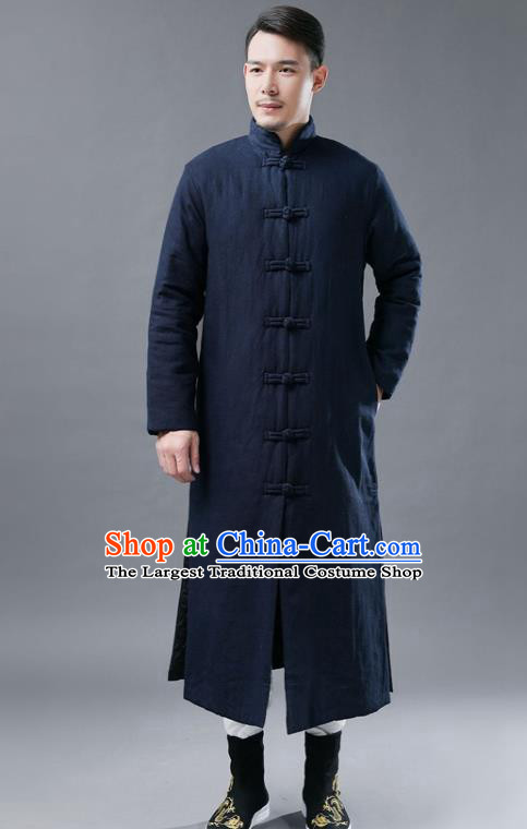Chinese Traditional Costume Tang Suits National Mandarin Navy Cotton Padded Long Coat for Men
