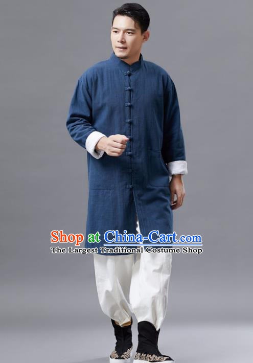 Chinese Traditional Costume Tang Suit Navy Shirts National Mandarin Gown for Men