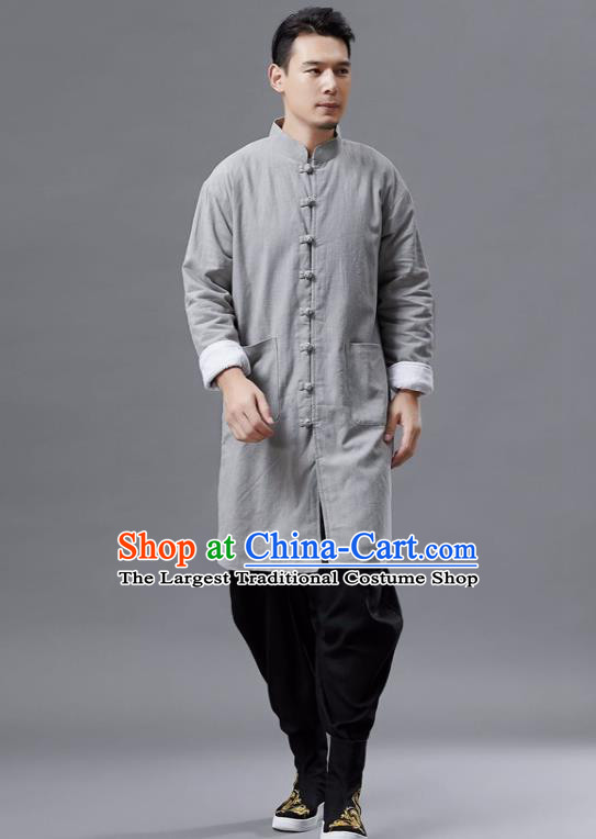 Chinese Traditional Costume Tang Suit Grey Shirts National Mandarin Gown for Men
