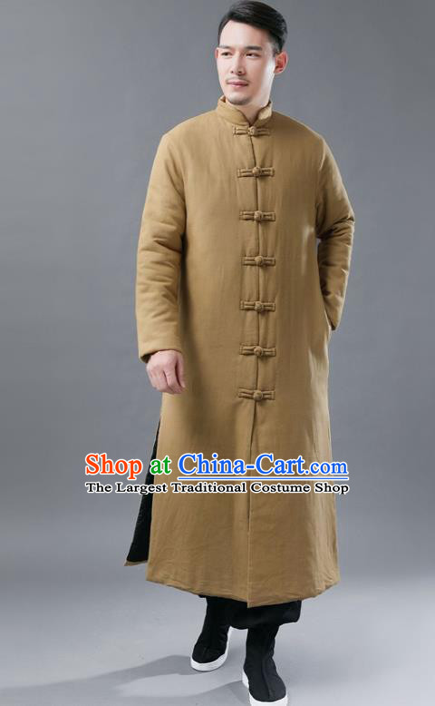 Chinese Traditional Costume Tang Suits National Mandarin Khaki Cotton Padded Long Coat for Men