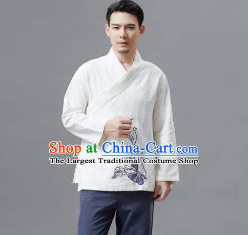 Chinese Traditional Costume Tang Suit White Shirts National Mandarin Outer Garment for Men