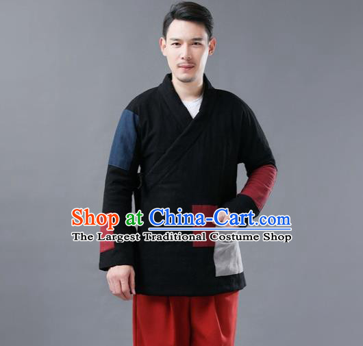 Chinese Traditional Costume Tang Suits Cotton Padded Jacket National Black Mandarin Shirt for Men