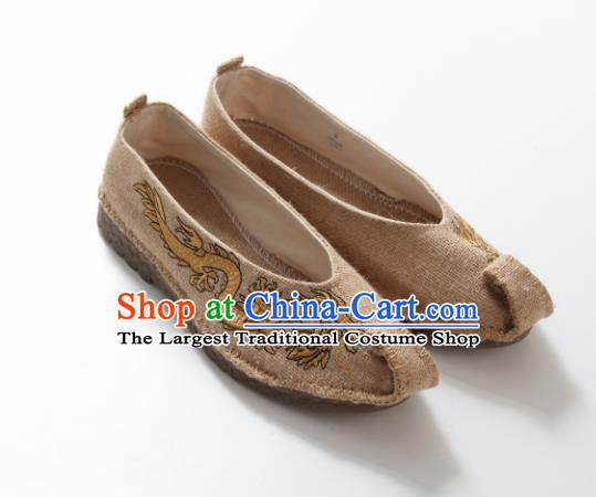 Chinese Traditional Martial Arts Shoes Kung Fu Shoes Embroidered Dragon Beige Linen Monk Shoes for Men