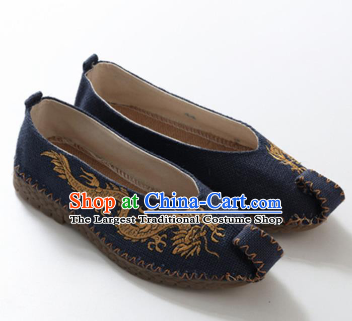 Chinese Traditional Martial Arts Shoes Kung Fu Shoes Embroidered Dragon Navy Linen Monk Shoes for Men